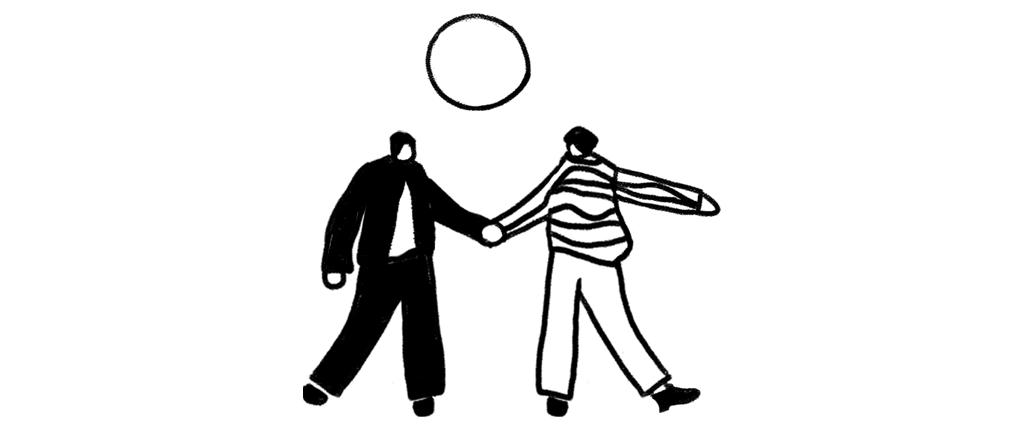 To tegnede figurer danser