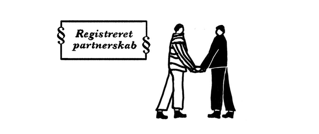 To tegnede personer indgår i et registreret partnerskab